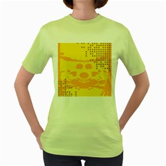 Texture Yellow Abstract Background Women s Green T-Shirt