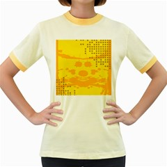 Texture Yellow Abstract Background Women s Fitted Ringer T-Shirts