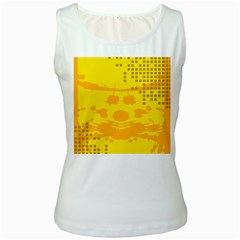 Texture Yellow Abstract Background Women s White Tank Top