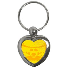 Texture Yellow Abstract Background Key Chains (heart)