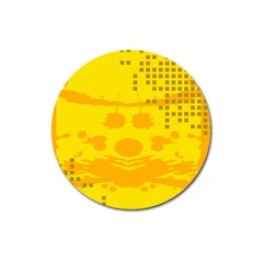 Texture Yellow Abstract Background Magnet 3  (Round)
