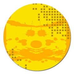 Texture Yellow Abstract Background Magnet 5  (round)