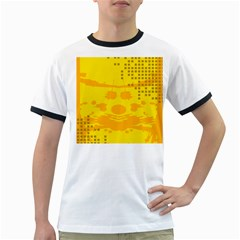 Texture Yellow Abstract Background Ringer T Shirts