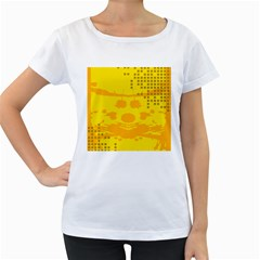 Texture Yellow Abstract Background Women s Loose Fit T Shirt (white)