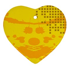 Texture Yellow Abstract Background Heart Ornament (Two Sides)