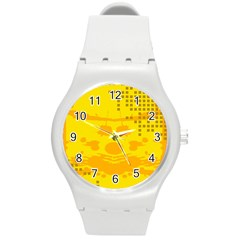 Texture Yellow Abstract Background Round Plastic Sport Watch (m)
