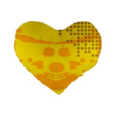Texture Yellow Abstract Background Standard 16  Premium Heart Shape Cushions