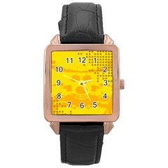 Texture Yellow Abstract Background Rose Gold Leather Watch