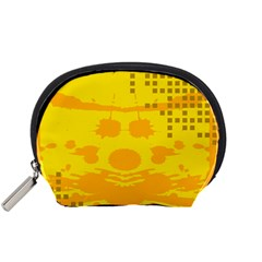 Texture Yellow Abstract Background Accessory Pouches (small)