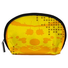Texture Yellow Abstract Background Accessory Pouches (large)