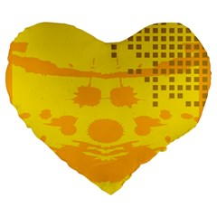 Texture Yellow Abstract Background Large 19  Premium Flano Heart Shape Cushions