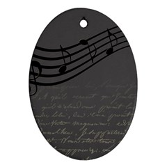 Music Clef Background Texture Ornament (Oval)
