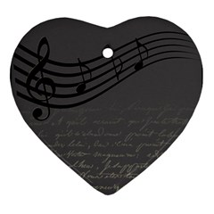 Music Clef Background Texture Ornament (Heart)