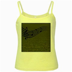 Music Clef Background Texture Yellow Spaghetti Tank