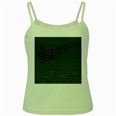 Music Clef Background Texture Green Spaghetti Tank