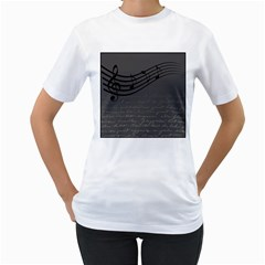 Music Clef Background Texture Women s T-Shirt (White) (Two Sided)