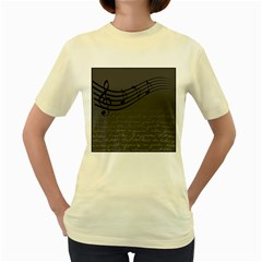 Music Clef Background Texture Women s Yellow T-Shirt