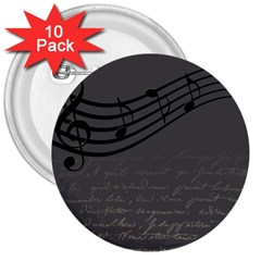 Music Clef Background Texture 3  Buttons (10 pack)
