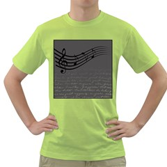 Music Clef Background Texture Green T-Shirt