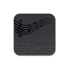 Music Clef Background Texture Rubber Coaster (square)