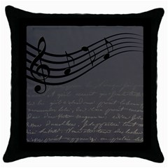 Music Clef Background Texture Throw Pillow Case (black)