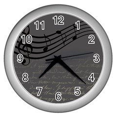 Music Clef Background Texture Wall Clocks (silver)