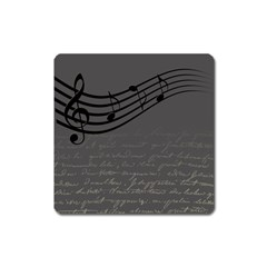 Music Clef Background Texture Square Magnet