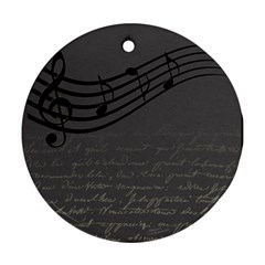 Music Clef Background Texture Round Ornament (Two Sides)