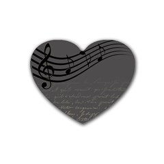 Music Clef Background Texture Rubber Coaster (heart)