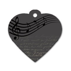 Music Clef Background Texture Dog Tag Heart (Two Sides)