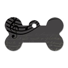 Music Clef Background Texture Dog Tag Bone (two Sides)