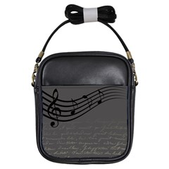 Music Clef Background Texture Girls Sling Bags
