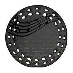 Music Clef Background Texture Round Filigree Ornament (Two Sides)