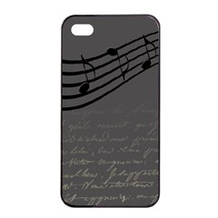 Music Clef Background Texture Apple Iphone 4/4s Seamless Case (black)