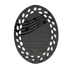Music Clef Background Texture Oval Filigree Ornament (Two Sides)