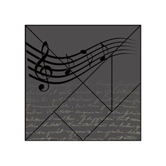 Music Clef Background Texture Acrylic Tangram Puzzle (4  x 4 )