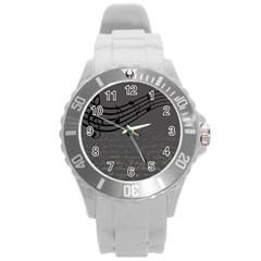 Music Clef Background Texture Round Plastic Sport Watch (l)