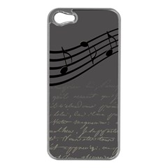 Music Clef Background Texture Apple iPhone 5 Case (Silver)