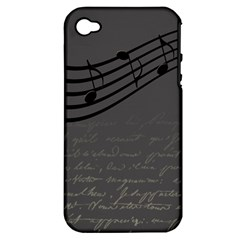 Music Clef Background Texture Apple Iphone 4/4s Hardshell Case (pc+silicone)