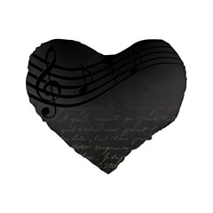 Music Clef Background Texture Standard 16  Premium Heart Shape Cushions
