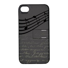 Music Clef Background Texture Apple iPhone 4/4S Hardshell Case with Stand