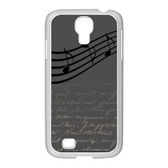 Music Clef Background Texture Samsung GALAXY S4 I9500/ I9505 Case (White)