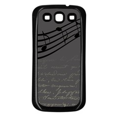 Music Clef Background Texture Samsung Galaxy S3 Back Case (black)