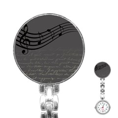 Music Clef Background Texture Stainless Steel Nurses Watch