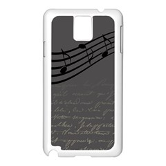 Music Clef Background Texture Samsung Galaxy Note 3 N9005 Case (White)