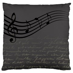 Music Clef Background Texture Large Flano Cushion Case (One Side)