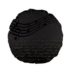 Music Clef Background Texture Standard 15  Premium Flano Round Cushions