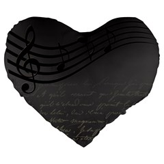 Music Clef Background Texture Large 19  Premium Flano Heart Shape Cushions