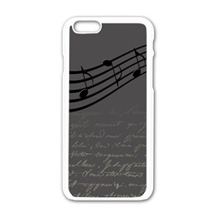 Music Clef Background Texture Apple Iphone 6/6s White Enamel Case