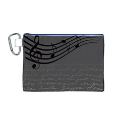 Music Clef Background Texture Canvas Cosmetic Bag (m)